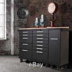 12 Drawer Rolling Cabinet Cart Steel Storage Tool Organizer Rubber Wood Worktop