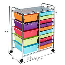 15 Drawer Rolling Storage Cart Storage Rolling Carts Opaque Multicolor Drawers