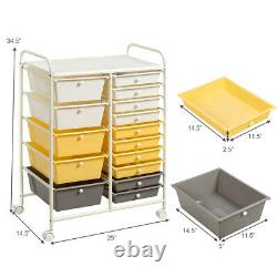 15 Drawer Rolling Storage Cart Tools Scrapbook Paper Office School Organizer