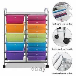 15 Drawer Rolling Storage Cart Tools Scrapbook Paper Office School Organizer NEW