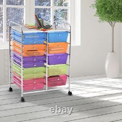 15 Drawer Rolling Storage Cart Tools Scrapbook Paper Organizer on Wheels Office