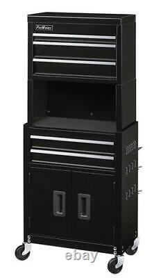20 x 11 Black 5 Drawer Rolling Tool Chest Cabinet Riser Large Bulk Storage