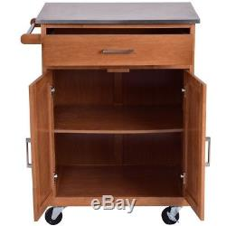 28.5L Kitchen Island Trolley Cart Stainless Steel Top Rolling Storage Cabinet
