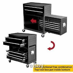 2Pc Tool Chest Storage Portable Top Rolling Tool Box Organizer Sliding Draw