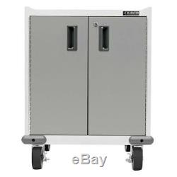 2 Door Rolling Garage Cabinet Garage Tool Storage Organizer Steel Everest White