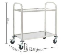 2-Tier Kitchen Trolley Stainless Steel Cart Rolling Serving Storage Rack Cabinet