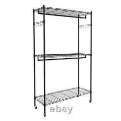 2 Tier Rolling Closet System Organizer Garment Clothes Rack Hanger Storage Shelf