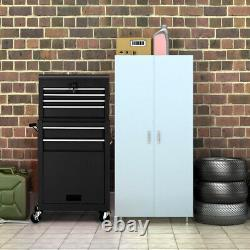 2 in 1 Rolling Cabinet Storage Box Garage Chest Organizer with 6 Drawers Black