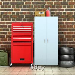 2 in 1 Rolling Cabinet Storage Box Garage Chest Organizer with 6 Drawers Red
