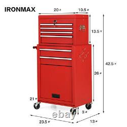 2 in 1 Rolling Cabinet Storage Chest Box Garage Toolbox