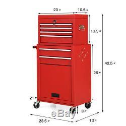 2 in 1 Rolling Cabinet Storage Chest Box Garage Toolbox Organizer