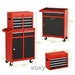 2 in 1 Rolling Cabinet Storage Chest Box Garage Toolbox Organizer with 6 Drawers