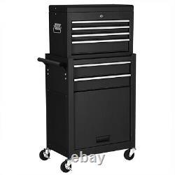 2 in 1 Rolling Tool Box Cabinet Storage Chest Box Garage Toolbox Organizer Black