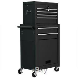 2 in 1 Rolling Tool Box Cabinet Storage Chest Box Garage Toolbox Organizer Black