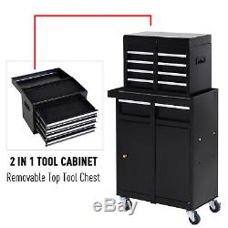 2 in 1 Top Chest Rolling Tool Storage Box Cabinet 4 Drawers with Pegboard, Black