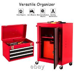 2pc Mini Tool Chest & Cabinet Storage Box Rolling Garage Toolbox Organizer New