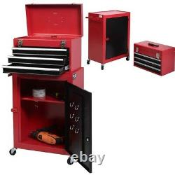 2pc Mini Tool Chest and Cabinet Storage Box Rolling Garage Toolbox Organizer