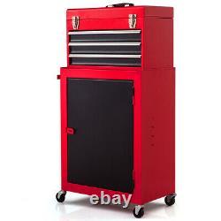 2pc Mini Tool Rolling Garage Toolbox Organizer Chest Storage Box Utility