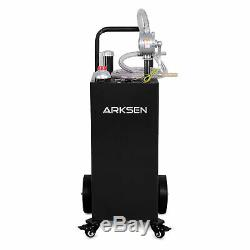 30 Gallon Gas Caddy Fuel Storage Tank Hand Siphon Pump Rolling Wheels, Black