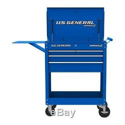 30 in. 4 Drawer Blue Tech Cart Tool Storage Rolling Workstation Auto Shop Box