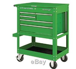 30 in 5 Drawer Green Mechanic's Cart Tool Storage Rolling Workstation Auto Shop