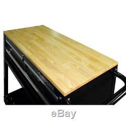 36in Rolling Tool Cart Black Wood Top 3 Drawer Shelf Workbench Storage Organizer