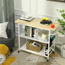 3Tier Rolling Kitchen Island Trolley Cart Dining Storage Shelves Microwave Stand
