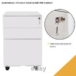 3-Drawer Home Rolling Wood File Cabinet Mobile Office Storage Cabinet Withcasters