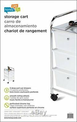 3 Drawer Mobile Organizer Home Office Rolling Cart Storage Steel Chrome Sturdy