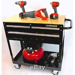 3-Drawer Rolling Tool Cart Solid Wood Top 36 in. Utility Husky Storage Tool Box