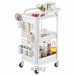 3-Tier Metal Storage Rolling Cart with Utility Handle and Removable Pegboard and