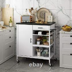 3-Tier Rolling Kitchen Island Storage Cart white Microwave Oven Rack Stand new
