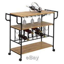 3-Tier Rolling Steel Home Kitchen Trolley Island Storage Shelf Serving Bar Cart