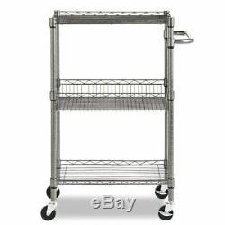 3 Tier Steel Wire Rolling Cart Utility Trolley Rack Kitchen Storage Food Service