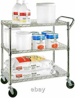 3 Tier Wire Steel Utility Cart Rolling Storage Heavy Duty Trolley Rack Shelves