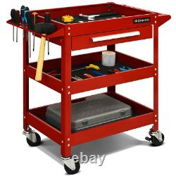 3 Tray Rolling Tool Cart Mechanic Cabinet Storage Organizer with Drawer Black Red