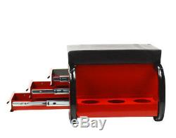 3-drawer Work Seat Chair Bench Toolbox Rolling Bin Storage Organizer Cart