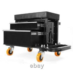 400 lbs. Capacity Garage Glider Rolling Tool Chest Seat with Storage Pouch