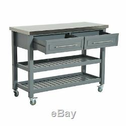 47 Stainless Steel 3 Tier Kitchen Rolling Cart Workbench With Storage W8E9