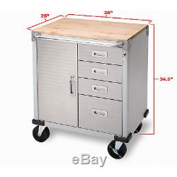 4 Drawer Rolling Storage Cabinet UltraHD Key Lock Stainless Steel Wheel Tool Box