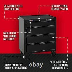 4-Drawer Steel Rolling Tool Chest Garage Organizer Storage Black 26 Cabinet