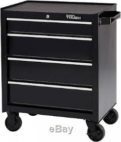 4 Drawers Tool Box Chest Cart with Wheels Metal Roll Around Rolling Storage Black