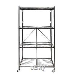4 Shelf Storage Rack Rolling Steel Folding Garage Warehouse Workshop Sturdy Home