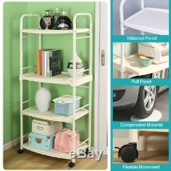 4-Tier Microwave Stand Rack Rolling Kitchen Storage Cart Workstation Shelf