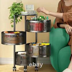 4 Tier Stainless Steel Vegetable Fruit Baskets Stand Storage Rack Rolling Cart