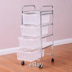 4 Tier Storage Trolley Rolling Cart Rack Basket Shelf Home Kitchen Bathroom