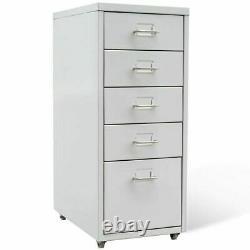 5 Drawer Metal Home Office Filing Cabinet Storage Steel File Organizer Castors