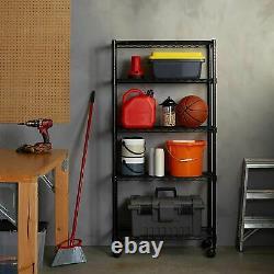5-Shelf Black Heavy Duty Steel Office Garage Storage Shelving Rolling Wheel Rack