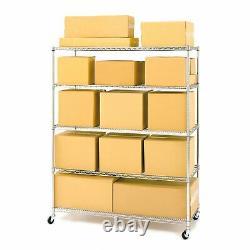 5 Tier Large Shelving Unit Chrome Wire Shelf Rolling Storage Rack Steel Shelves