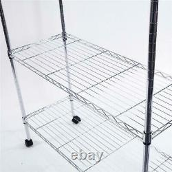 5 Tier Rolling Wire Shelving Adjustable Storage Shelf Garage Shop Free Standing